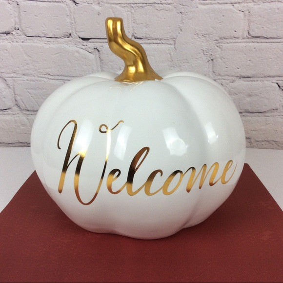 Robert Stanley Gold And Navy Christmas 2020 Robert Stanley Holiday | Welcome Pumpkin White Gold Ceramic | Poshmark